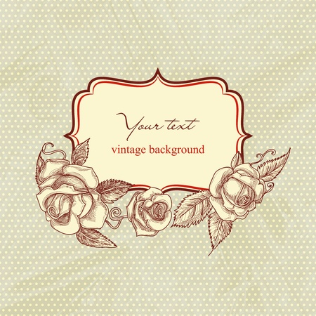 Vintage text frame with roses, old paper background Vector