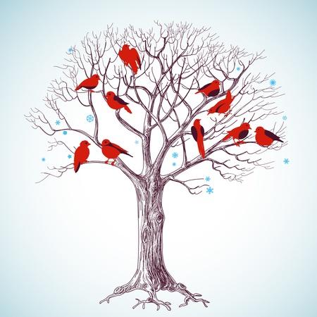 Árbol de invierno con ilustración de vector de aves