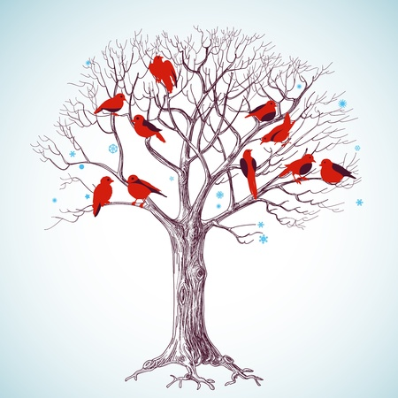 scarlet: Winter tree with birds vector illustration