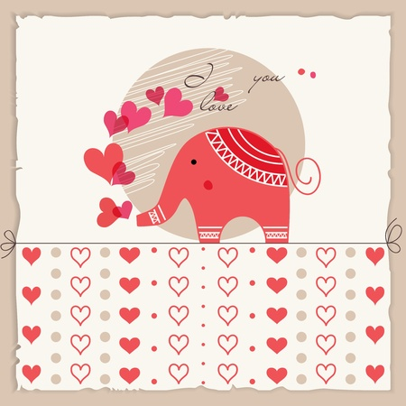 Valentines day card, cute elephant inlove Vector
