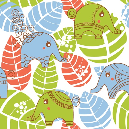 Colorful jungle seamless pattern with elephants Vector