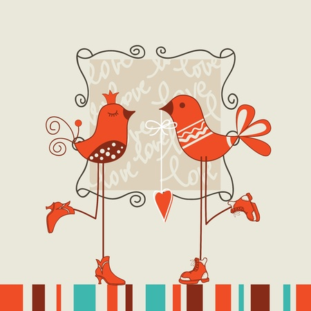 love cartoon: Birds romantic date vector illustration