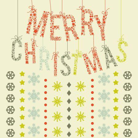 taper: Merry Christmas lettering, retro Christmas background