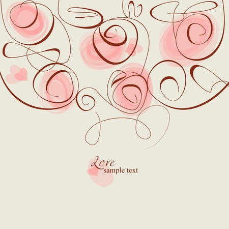 Pink roses frame romantic background  Vector
