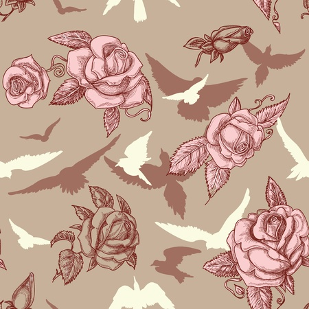 Vintage roses and birds seamless pattern Vector