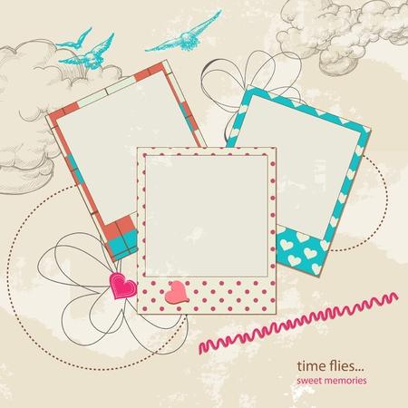 papel scrapbook: Plantilla de chatarra retro, el cielo de fondo y marcos de fotos Vectores