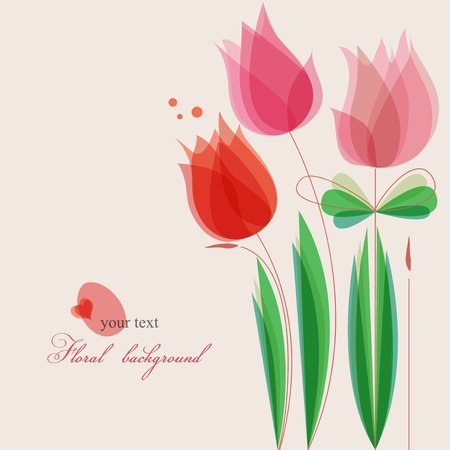 Flower: Carino fiori sfondo vettoriale