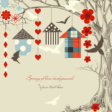 summer house: Birds and birdcages in a tree Illustration