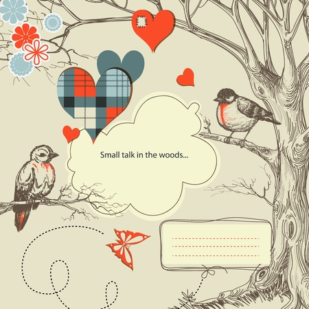 Love birds talk in the woods vector illustration Vector