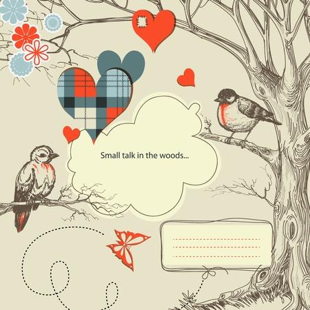 dating and romance: Uccelli amano parlare in illustrazione vettoriale boschi Vettoriali