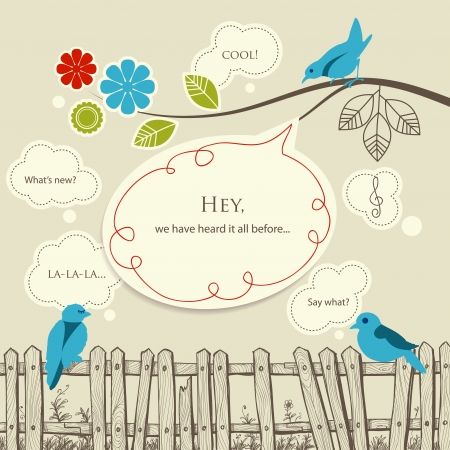 Blue birds talking communication concept Stock Vector - 11674850