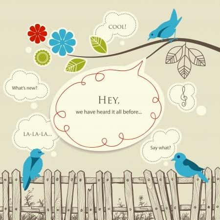 blab: Uccelli blu parlando concetto di comunicazione