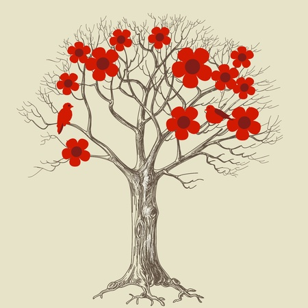single sketch: Tree in bloom and love birds