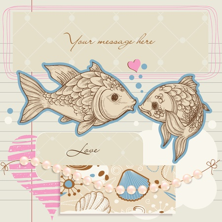 Scrapbook elements on love and sea theme Vector