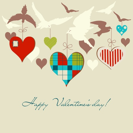 Birds and hearts vector illustration Vector