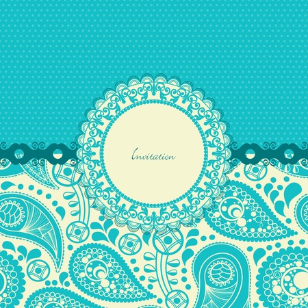 Paisley flower gift card in trendy turquoise Vector