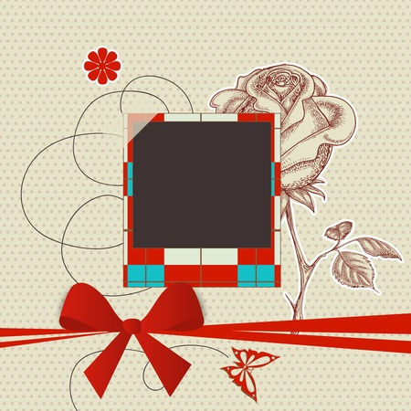 scrapbook frame: Scrapbook template with photo frame and red ribbon