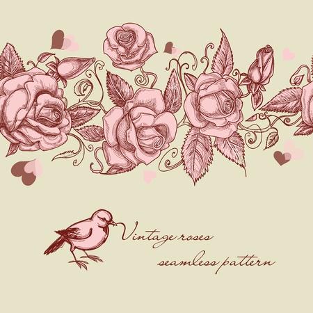 Rosas patrón de la vendimia sin problemas Ilustración de vector