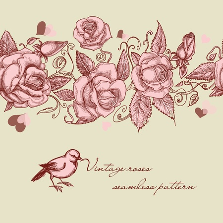 etching pattern: Vintage roses seamless pattern Illustration