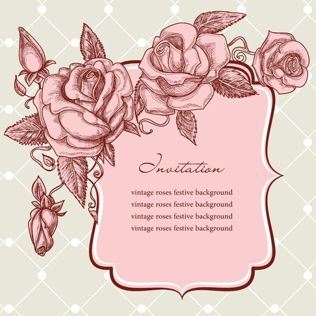 Festive events panel vintage roses decoration Vector