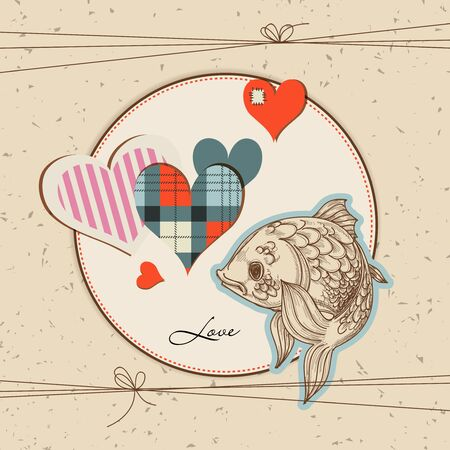 Cute fish in love  Vector