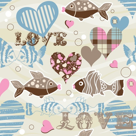 Love fish seamless pattern  Vector