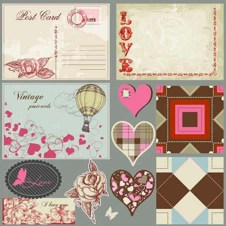 Vintage love set, postcards, hearts, roses, labels and seamless patterns  Vector