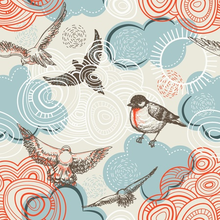 etching pattern: Birds and clouds seamless pattern