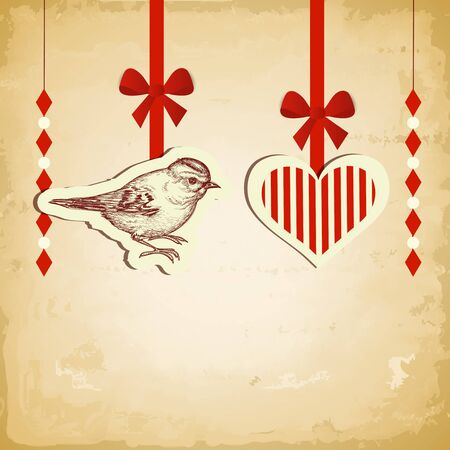 Vintage love card, old paper texture vector illustration Stock Vector - 11779879