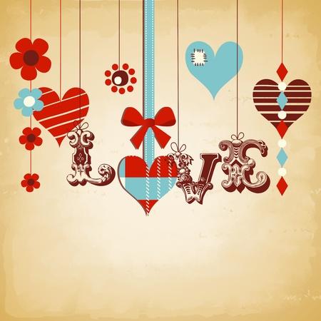 st valentines day: Retro love background