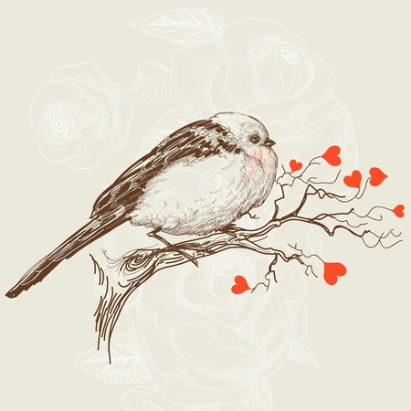 etching: Love bird sitting on a tree branch with hearts as flowers Illustration