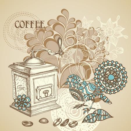 molinillo: De fondo café con decoración retro de aves moliendo granos de café