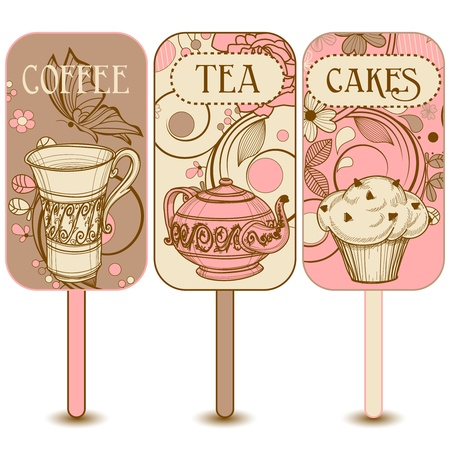 cupcake illustration: Coffee, tea and cakes labels