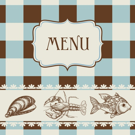 ostra: Mar del men� de la comida Vectores