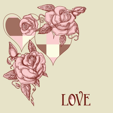 Roses and hearts romantic card Vector