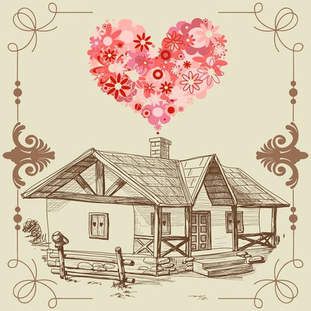 house in hand: House of love, happy family concept