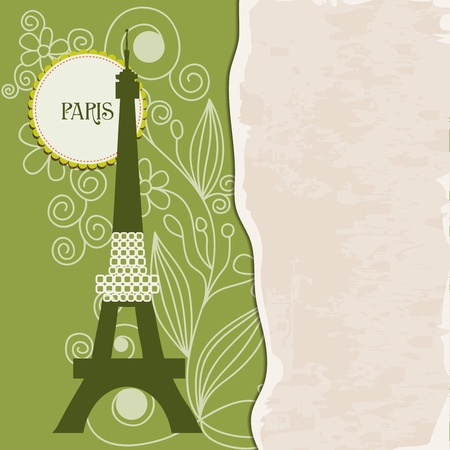 Retro Paris background with stylized Eiffel Tower and paper texture for text Vector