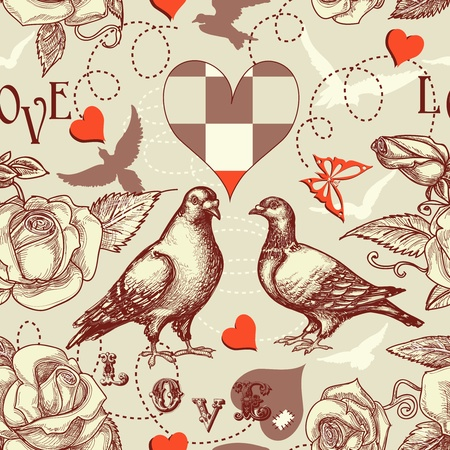 etching pattern: Love birds seamless pattern Illustration