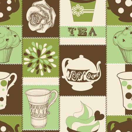 kuchnia: Retro herbata i Cupcake szwu