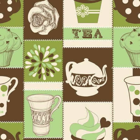 kitchen illustration: Retro tea and cupcake seamless pattern