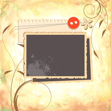grunge photo frame: Scrap design with stack of photos and watercolor paper background