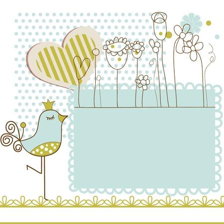 pajaro caricatura: Baby shower con marco para el texto Vectores
