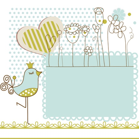 cartoon bird: Baby shower with frame for text