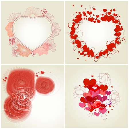 Romantic greeting cards set Vector