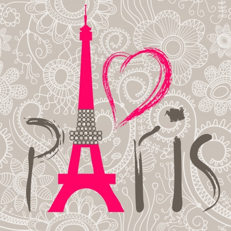 Paris lettering over lace seamless pattern Vector