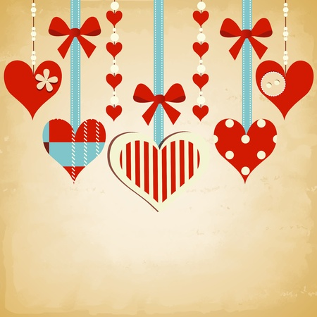Valentine day background with cute hearts Vector