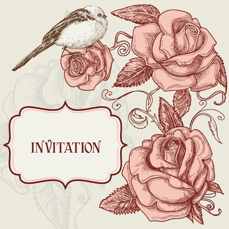 Roses and lovely bird romantic background Vector