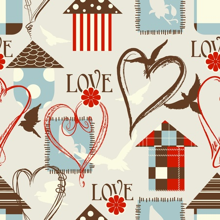fly cartoon: Love seamless pattern with birds, birdcages and hearts