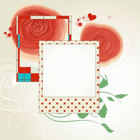 Red flowers and photo frames scrap layout Vector