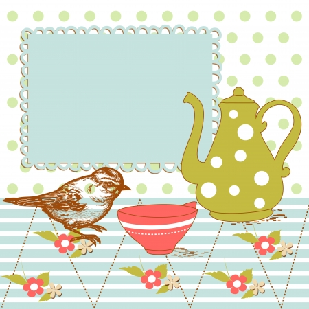 Bird and tea in the kitchen Vector